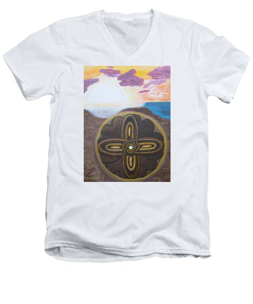 Men's V-Neck T-Shirt featuring the painting Mandala In The Sand by Cheryl Bailey