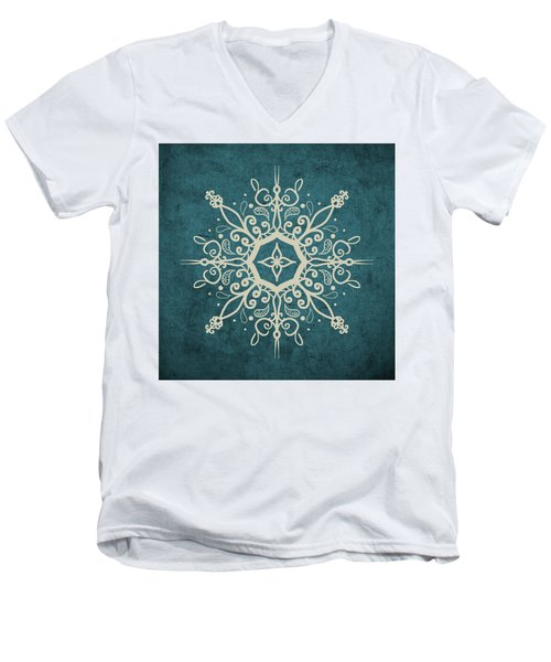 Mandala Teal And Tan Men's V-Neck T-Shirt