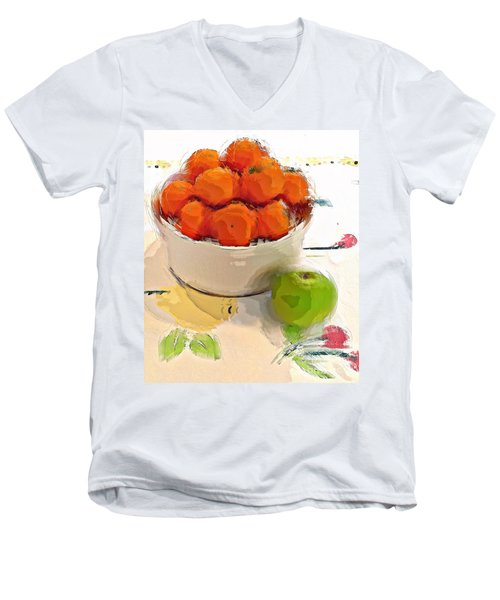 Men's V-Neck T-Shirt featuring the digital art Mandarin With Apple by Alexis Rotella