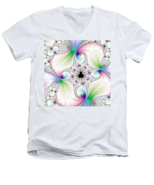 Mandebrot In Pastel Fractal Wonderland Men's V-Neck T-Shirt by Matthias Hauser