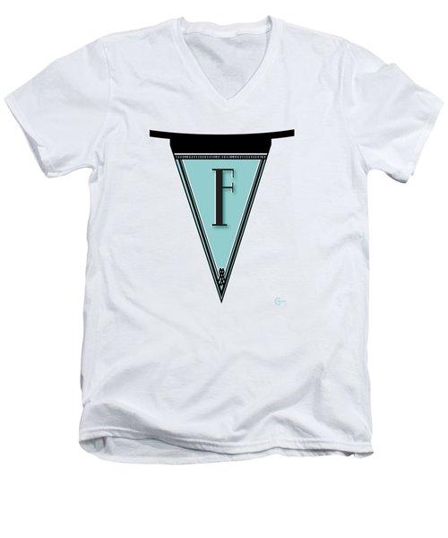 Pennant Deco Blues Banner Initial Letter F Men's V-Neck T-Shirt