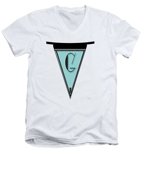 Pennant Deco Blues Banner Initial Letter G Men's V-Neck T-Shirt