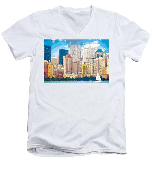 Manhattan Skyline New York City Men's V-Neck T-Shirt