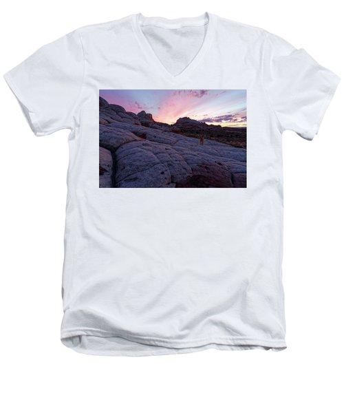Man's Best Friend Sunset Men's V-Neck T-Shirt by Jonathan Davison