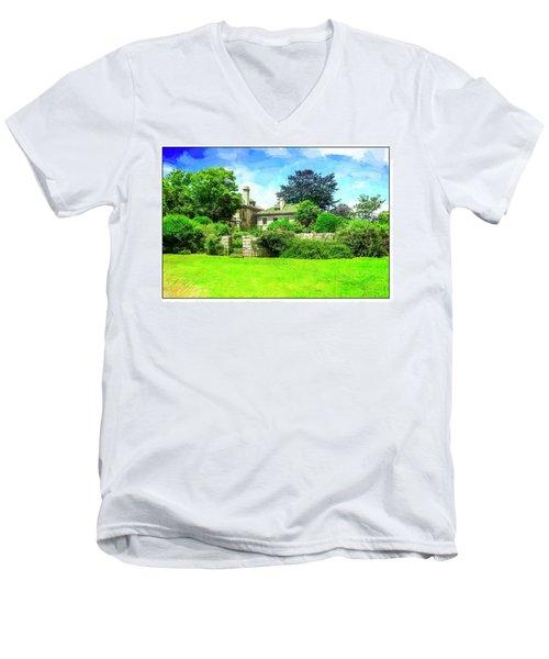 Mansion And Gardens At Harkness Park. Men's V-Neck T-Shirt