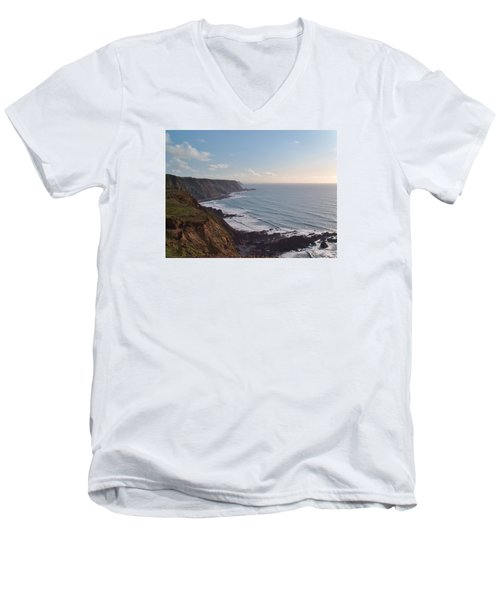 Mansley Cliff And Gull Rock From Longpeak Men's V-Neck T-Shirt