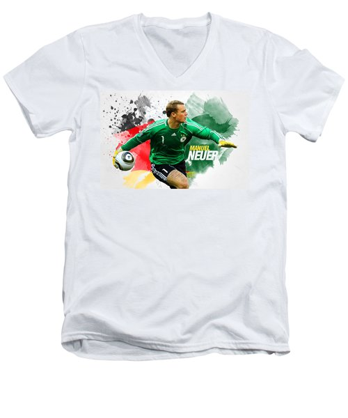 Manuel Neuer Men's V-Neck T-Shirt by Semih Yurdabak