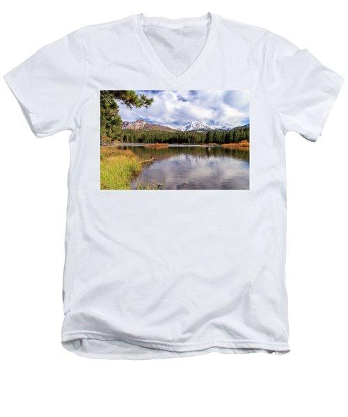 Manzanita Lake - Mount Lassen Men's V-Neck T-Shirt by James Eddy