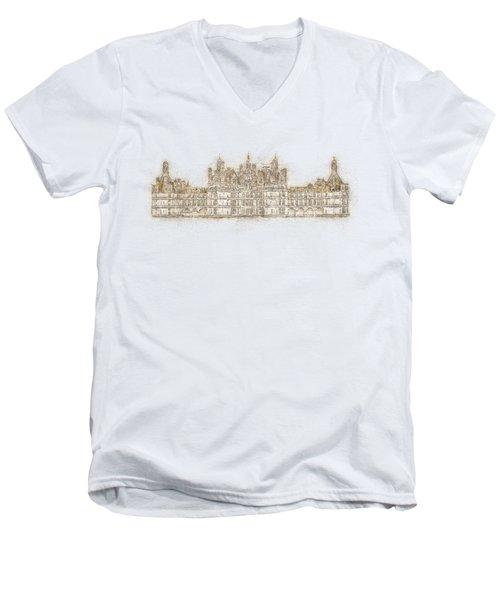 Map Of The Castle Chambord Men's V-Neck T-Shirt