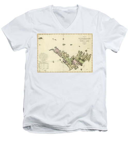 Map Of Saint Barts 1801 Men's V-Neck T-Shirt