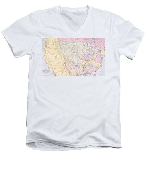 Map Showing The Localities Of The Indian Tribes Of The Us In 1833 Men's V-Neck T-Shirt by Thomas L McKenney and James Hall