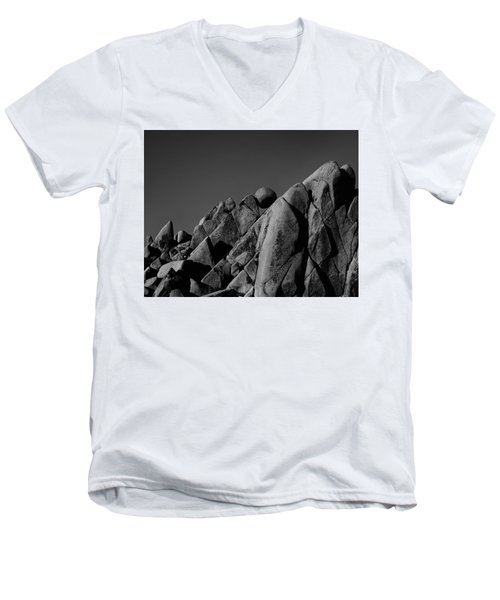 Marble Rock Formation B And W Version Men's V-Neck T-Shirt