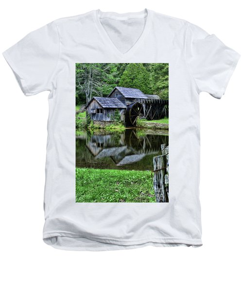 Men's V-Neck T-Shirt featuring the photograph Marby Mill Reflection by Paul Ward