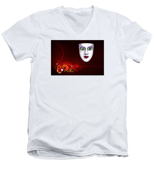 Men's V-Neck T-Shirt featuring the photograph Mardi Gras Mask Red Vines by Gary Crockett