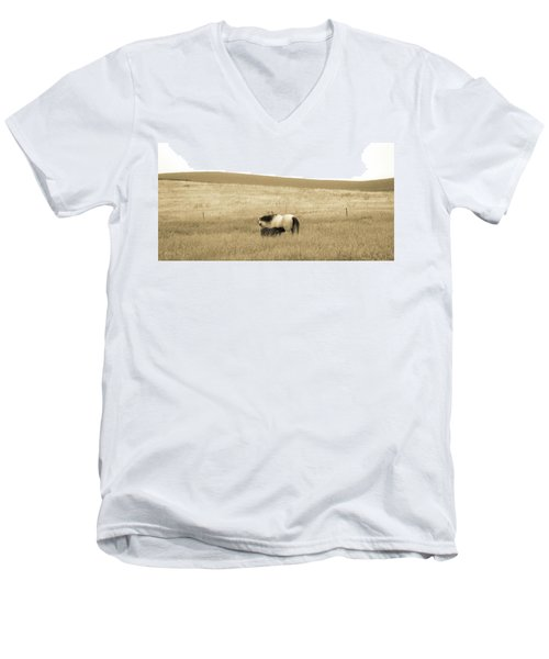 Men's V-Neck T-Shirt featuring the photograph Mare And Foal  by Dawn Romine