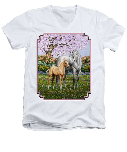 Mare And Foal Pillow Pink Men's V-Neck T-Shirt