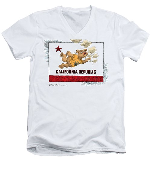 Men's V-Neck T-Shirt featuring the drawing Marijuana Referendum In California by Daryl Cagle