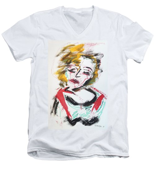 Marilyn Abstract Men's V-Neck T-Shirt
