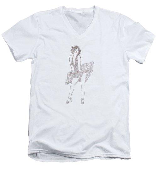 Marilyn Monroe Drawing Sketch Men's V-Neck T-Shirt