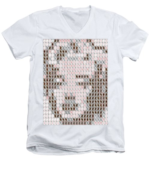 Men's V-Neck T-Shirt featuring the mixed media Marilyn Monroe Playing Card Mosaic by Paul Van Scott