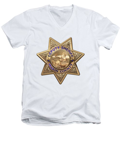 Men's V-Neck T-Shirt featuring the digital art Marin County Sheriff Department - Deputy Sheriff Badge Over White Leather by Serge Averbukh