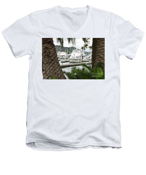 Men's V-Neck T-Shirt featuring the photograph Marina View by Yurix Sardinelly