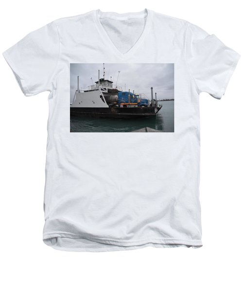 Marine City Mich Car Truck Ferry Men's V-Neck T-Shirt