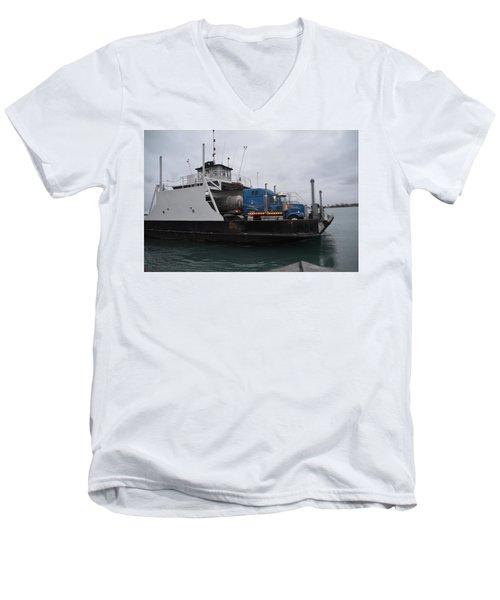 Marine City Mich Car Truck Ferry Men's V-Neck T-Shirt by Randy J Heath