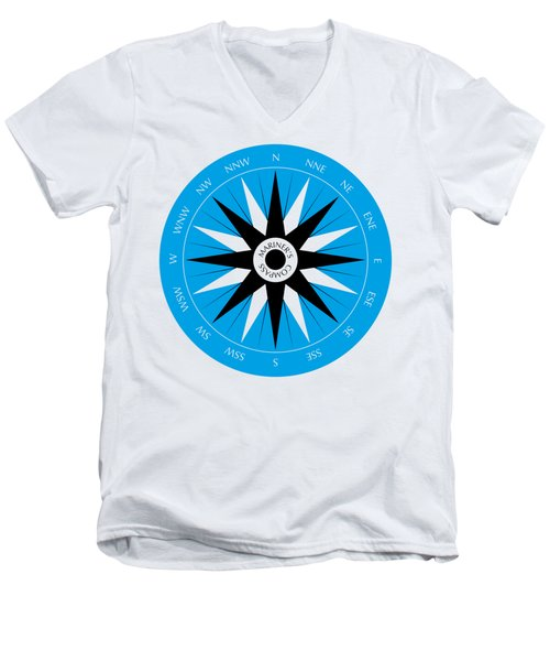 Men's V-Neck T-Shirt featuring the drawing Mariner's Compass by Frank Tschakert
