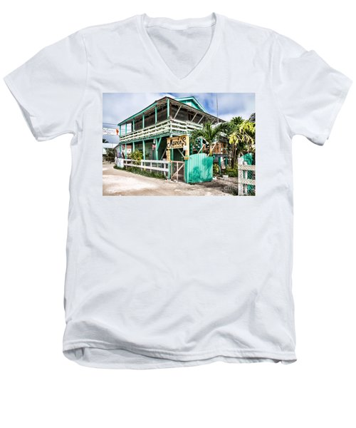 Men's V-Neck T-Shirt featuring the photograph Marin's On Caye Caulker by Lawrence Burry