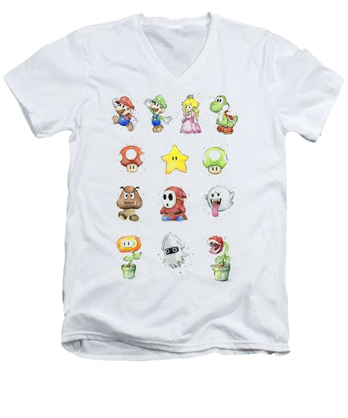 Mario Characters In Watercolor Men's V-Neck T-Shirt by Olga Shvartsur