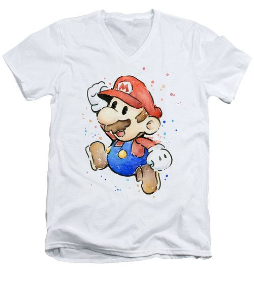 Mario Watercolor Fan Art Men's V-Neck T-Shirt by Olga Shvartsur