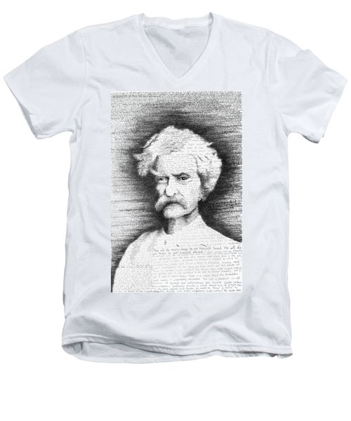 Mark Twain In His Own Words Men's V-Neck T-Shirt by Phil Vance