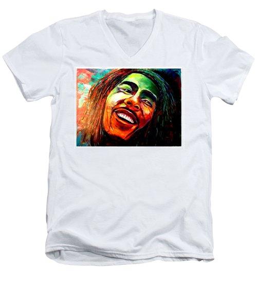 Marley Men's V-Neck T-Shirt by Ken Pridgeon