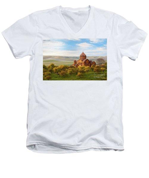 Marmashen Monastery Surrounded By Yellow Trees At Autumn, Armeni Men's V-Neck T-Shirt by Gurgen Bakhshetsyan