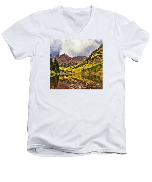 Maroon Bells Lake Men's V-Neck T-Shirt by Steven Parker