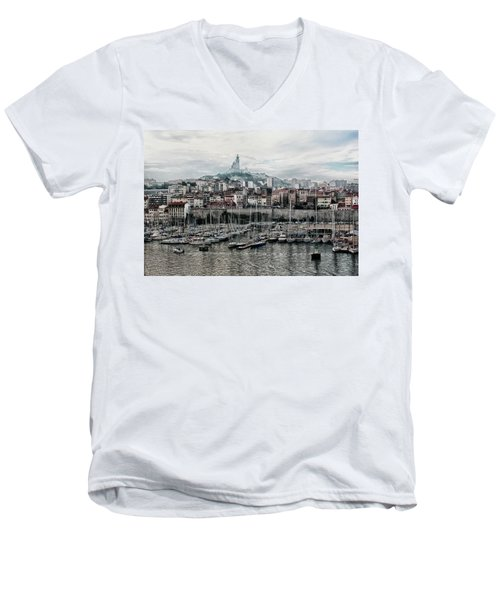 Men's V-Neck T-Shirt featuring the photograph Marseilles France Harbor by Alan Toepfer