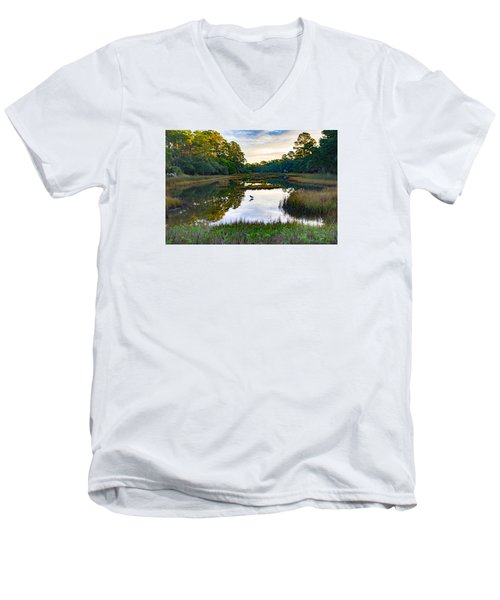 Men's V-Neck T-Shirt featuring the photograph Marsh In The Morning by Patricia Schaefer