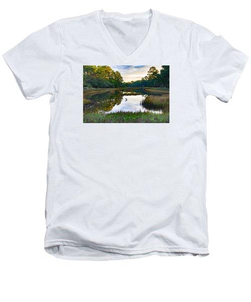 Marsh In The Morning Men's V-Neck T-Shirt by Patricia Schaefer