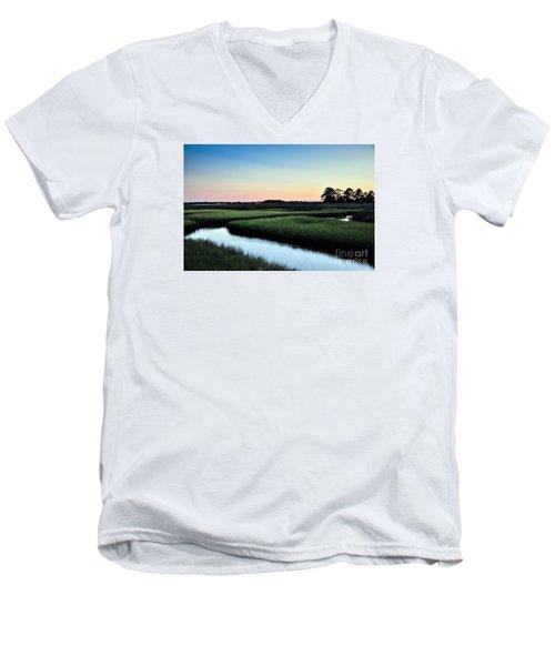 Marsh Sunset Men's V-Neck T-Shirt by Debbie Green