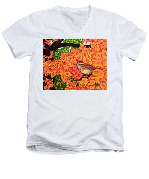 Marsh Wren Men's V-Neck T-Shirt by Michael Frank