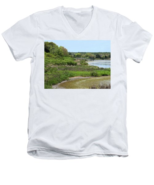 Marshlands Men's V-Neck T-Shirt by Cathy Harper