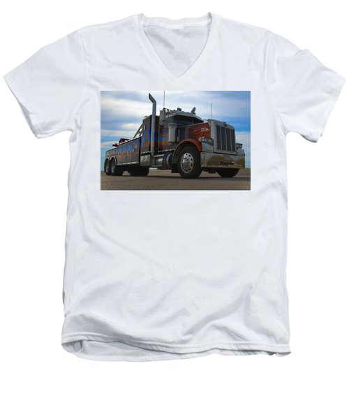 Men's V-Neck T-Shirt featuring the photograph Marvins Big Rig Cars Movie Tribute Tow Truck by Tim McCullough