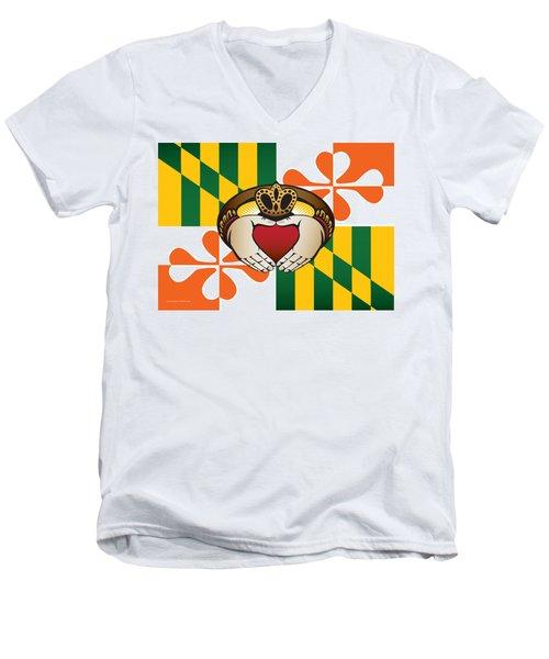 Maryland Irish Claddagh Art Men's V-Neck T-Shirt