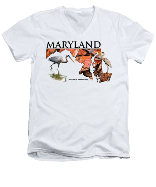 Maryland - The Land Of Pleasant Living Men's V-Neck T-Shirt