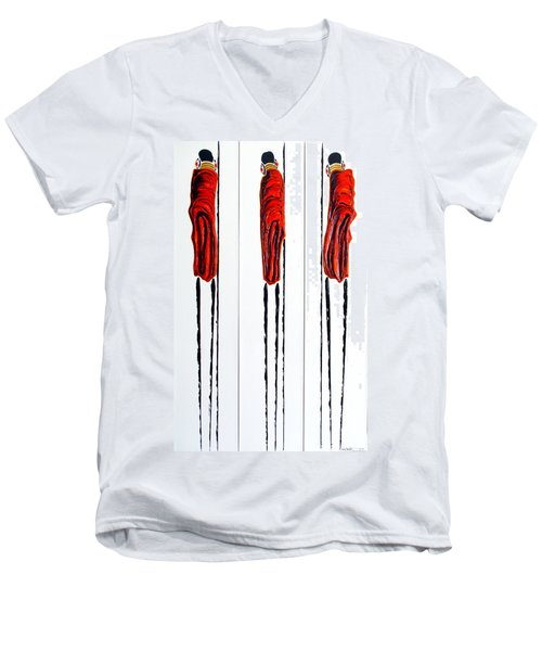 Masai Warrior Triptych - Original Artwork Men's V-Neck T-Shirt