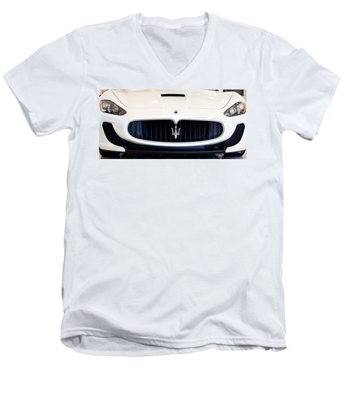 Maserati White Pano 121715 Men's V-Neck T-Shirt