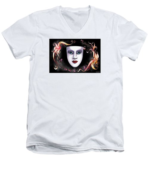 Men's V-Neck T-Shirt featuring the photograph Mask And Vines by Gary Crockett