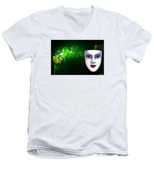 Men's V-Neck T-Shirt featuring the photograph Mask Blue Eyes On Green Vines by Gary Crockett