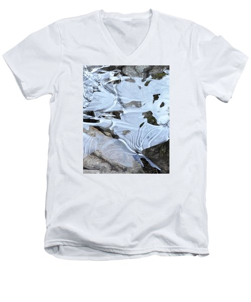 Men's V-Neck T-Shirt featuring the photograph Ice Mask Abstract by Glenn Gordon